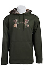 Under Armour Mens Rifle Green with Camo Logo Fleece Tackle Twill Storm Hoodie 1004429309