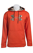 Under Armour Mens Dynamite Orange with Camo Logo Fleece Tackle Twill Storm Hoodie 1004429864