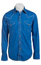 Roper Men's Solid Blue Long Sleeve Western Shirt