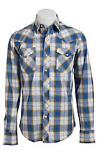 Roper Men's Blue & Moss Plaid Long Sleeve Western Shirt