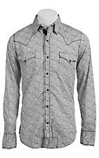 Roper Men's Grey Paisley Print Long Sleeve Western Snap Shirt