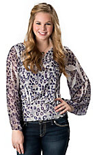 R. Rouge® Women's Purple and Grey Leopard Smocked Waist with Sheer Long Sleeves Fashion Top