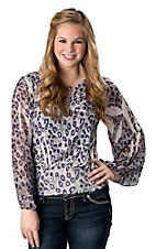 R. Rouge® Women's Purple and Grey Leopard Smocked Waist with Sheer Long Sleeves Fashion Top - Plus Sizes