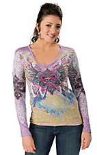 In Vein® Women's Purple w/ Multicolor Winged Fleur De Lis Print Long Sleeve V-Neck Tee