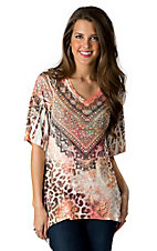 R. Rouge® Women's Orange and Black Leopard 3/4 Tunic Fashion Top