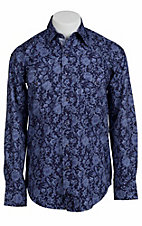 Stetson® Men's Blue w/ Light Blue Paisley Print Long Sleeve Western Snap Shirt