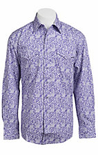 Stetson® Men's Purple and White Paisley Long Sleeve Western Snap Shirt 104250272