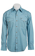 Stetson Men's Blue with Brown Box Print Long Sleeve Western Snap Shirt