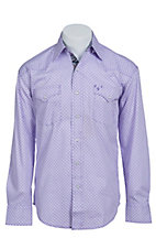 Stetson Men's Purple & White Squoval Print Long Sleeve Western Snap Shirt