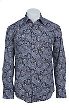 Stetson Men's Purple & Navy Paisley Print Long Sleeve Western Snap Shirt