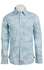 Stetson Men's Sky Blue Paisley Print Long Sleeve Western Snap Shirt