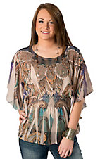R. Rouge® Women's Tan, Purple and Teal Paisley Elastic Waist Short Sleeve Sheer Fashion Top
