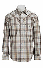 Stetson® Men's Natural and Grey Plaid Long Sleeve Western Snap Shirt