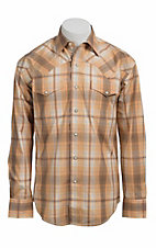 Stetson® Men's Orange, Yellow & Blue Plaid Long Sleeve Western Snap Shirt 104780277