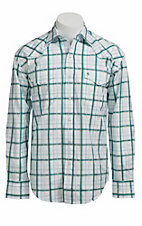 Stetson® Men's White and Turquoise Plaid Long Sleeve Western Snap Shirt 104780278
