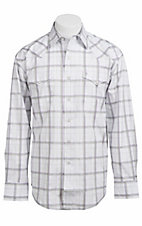 Stetson® Men's White with Grey, Purple and Green Satin Striped Plaid Long Sleeve Western Snap Shirt 104780279