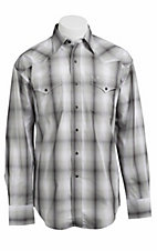 Stetson® Men's Grey and White Ombre Striped Long Sleeve Western Snap Shirt 104780280