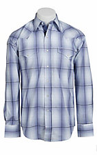 Stetson® Men's Blue & Navy Plaid Long Sleeve Western Snap Shirt 104780281