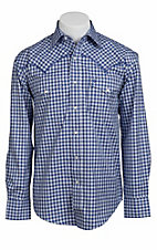 Stetson® Men's Blue & Light Blue Plaid Long Sleeve Western Snap Shirt 104780283
