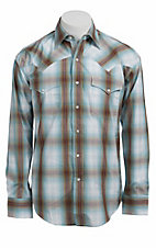 Stetson® Men's Turquoise Plaid Long Sleeve Western Snap Shirt 104780285