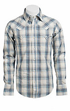Stetson® Men's Natural and Blue Plaid Long Sleeve Western Snap Shirt 104780288