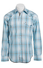 Stetson Men's Light Blue & Chocolate Plaid Long Sleeve Western Snap Shirt