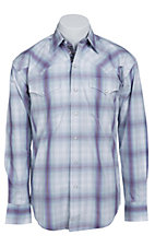 Stetson Men's Purple & Light Blue Plaid Long Sleeve Western Snap Shirt