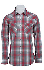 Stetson Men's Red & Grey Plaid Long Sleeve Western Snap Shirt