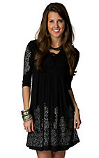 Jody® Women's Black w/ Grey Scroll Print & Rhinestones 3/4 Sleeve Dress