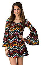 2Tee Couture® Women's Purple Multicolor Chevron Print Long Sleeve Dress