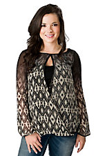 Vintage Havana® Women's Black & Cream Diamond Print Chiffon Twist Long Sleeve Sheer Fashion Top