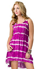 Vintage Havana® Women's Fuschia Tie Dye with Crochet Back Hi-Lo Sleeveless Dress