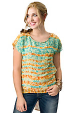 Vintage Havana® Women's Orange and Turquoise Floral Striped Chiffon Short Sleeves Fashion Top