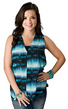 Vintage Havana® Women's Blue and Turquoise Tie Dyed Folded Back Sleeveless Fashion Top