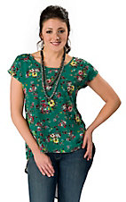 Vintage Havana® Women's Green Floral Short Sleeve HiLo Chiffon Fashion Top