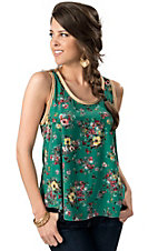 Vintage Havana® Women's Green Floral Sleeveless Fashion Tank Top