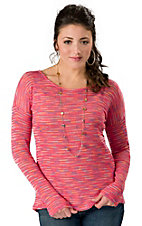 Vintage Havana® Women's Coral Stripe Open Back Long Sleeve Fashion Top