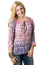 Vintage Havana® Women's Pink and Purple Floral Striped Chiffon Long Sleeves Tie Front Fashion Top