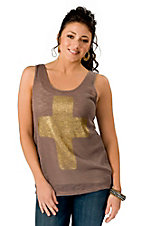 Vintage Havana® Women's Brown w/ Gold Foil Cross Fashion Tank