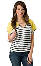 Vintage Havana® Women's White and Black Striped with Yellow Chiffon Short Sleeve Fashion Top