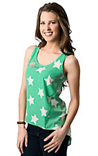 Vintage Havana® Women's Mint with White Stars and Studs Hi-Lo Sleeveless Fashion Top