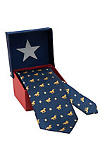 American Lifestyle® Navy w/ Gold Galloping Bronco & Stars Neck Tie