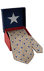 American Lifestyle® Tan with Longhorns, Stars & Texas Outline Neck Tie