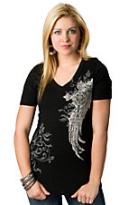 R. Rouge® Women's Black Winged Crosses Short Sleeve V-Neck Tee