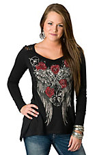 Jody® Women's Black w/ Crossed Pistols, Wings & Roses Long Sleeve Tee