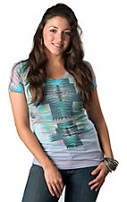 R. Rouge® Women's Multi-Colored Aztec Crosses with Rhinestones V-Neck Short Sleeve Tee