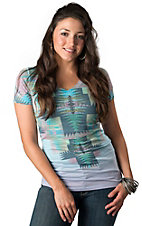 R. Rouge® Women's Multi-Colored Aztec Crosses with Rhinestones V-Neck Short Sleeve Tee - Plus Sizes