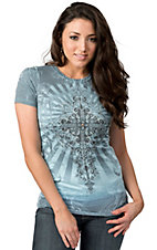 R. Rouge® Women's Turquoise and Grey with Cross and Rhinestones Sleeve Embellished Tee