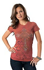 R. Rouge® Women's Coral with Rhinestoned Cross Sleeve Embellished Tee