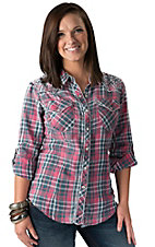 Affliction Women's Sun Kissed Pink, Navy and White Plaid Long Sleeve Western Shirt